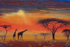 African-Sunset-painting-in-Gouache-by-Brian-Nunn