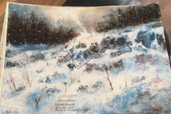 Snow Scene in Acrylic and Watercolour by John Young